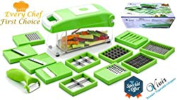 Vivir High Quality 12 in 1 Fruits And Vegetable Cutter - Nicer Slicer Dicer, Chopper, Grater, Peeler - All In One (Green)