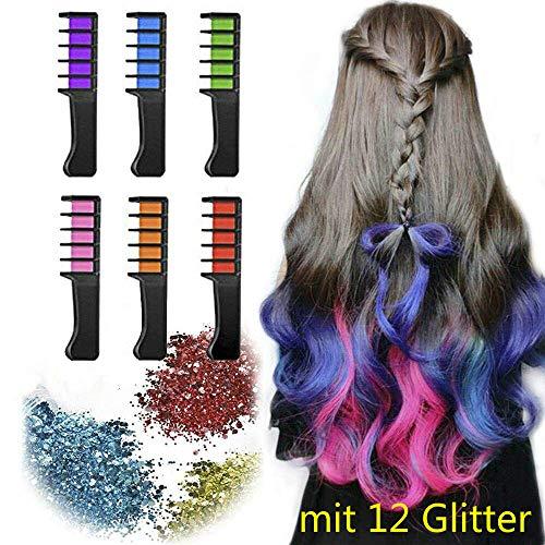 Haarkreide Kamm mit 12 Glitter, Haarkreide Auswaschbar Temporäre Haarfarbe, Haarkreide-set Haarkreide Kinder Instant Einmalige Haar Colorationen Ungiftig Haarfarbe