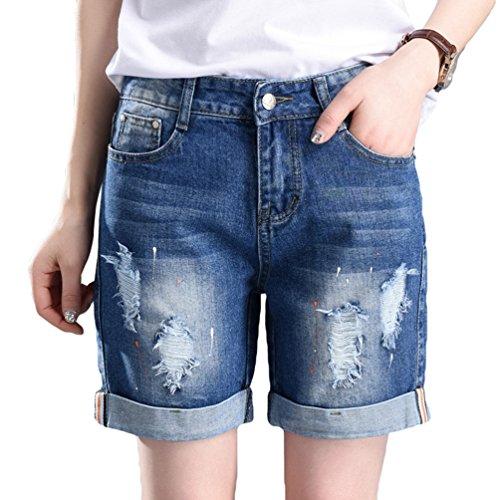 Chengyang donna viaggio taglia forte pantaloni corti jeans estate pantaloncini casuale shorts blu scuro xl