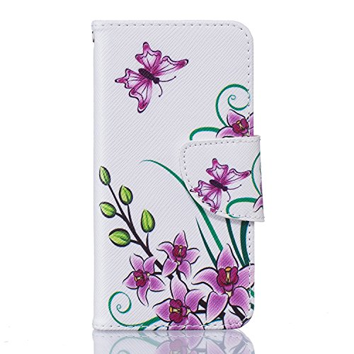 XiaoXiMi Coque iPhone 5/5S/SE Étui Portefeuille en PU Cuir pour iPhone 5/5S/SE Housse de Protection Flip Wallet Case Cover Étui à rabat Coque Souple Flexible Housse Mince Léger Couverture Anti Rayure  Papillon Pourpre et Fleurs
