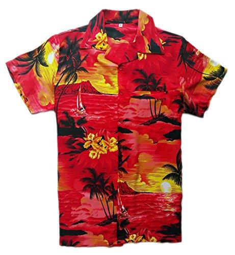 Camisa-hawaiana-para-hombre-diseo-de-playa-y-palmeras-para-la-playa-fiestas-verano-y-vacaciones-XL-rosso