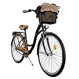 """Milord. Comfort Bike con Cesto, Bicicletta da Città Donna, 1 velocità, Marrone - Nero, 28"""""""