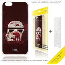 FunnyTech® Set Funda Silicona para Samsung Galaxy S5 [Gel Silicona Flexible Alta Calidad] [Ultra Slim 1,5mm] [Diseño Exclusivo, Impresión Alta Definición] + [Cristal Templado 0,3mm, HD, 9H] [Diseño Casco Star Wars Fun Art vers.1]