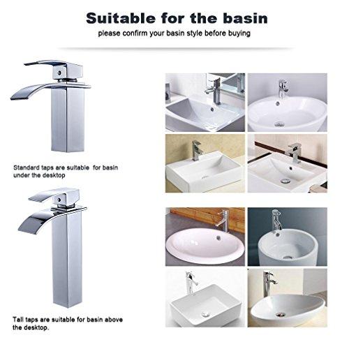 Auralum® Elegant Einhebel Mischbatterie Wasserhahn Armatur Waschtischarmatur Wasserfall Einhandmischer für Bad Badezimmer Waschbecken - 5