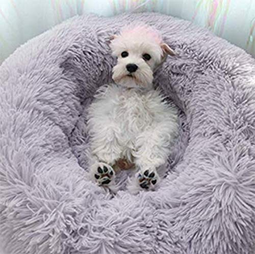 Everley Hutt Deluxe Haustierbett für Katzen Hundebett Luxery Soft Dog Donut Bed Cuddler mit weichem Kissen Round Nesting Cave (Small(50cm), Hellgrau)