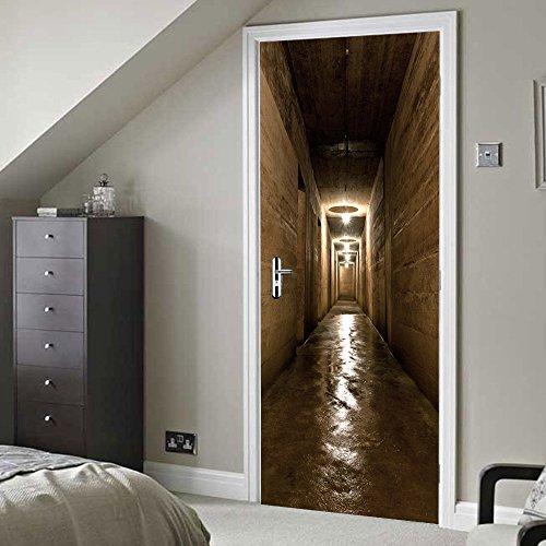 YMRAAN 3D Tür Aufkleber DIY Kreativ Tunnel Dekoration Wandaufkleber Wohnzimmer Schlafzimmer Tür Abnehmbar Selbstklebend Tapete Wasserdicht Kunst Poster Wandbild