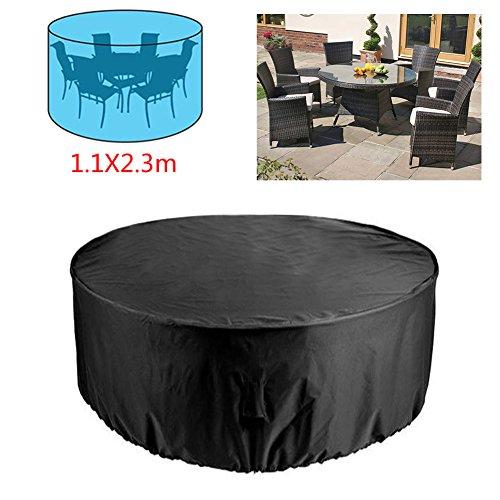 Rayinblue Housse de protection ronde pour mobilier de jardin 6 places, table et chaises ; imperméable ; 1,1 x 2,3 m