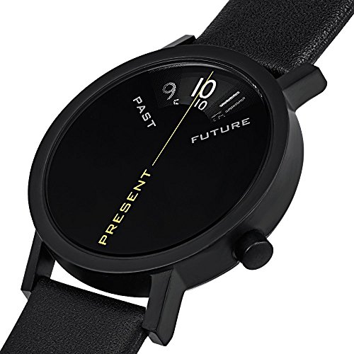 """Projects Watches """"Past, Present, Future Black"""" IP Stainless Steel Leather Unisex Watch"""