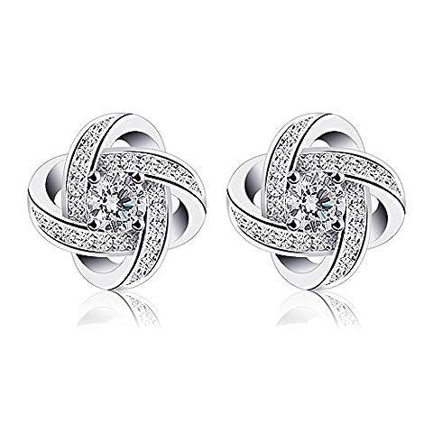 Wonvin Studs boucles d'oreilles femmes 925 Sterling argent cubique zircone boucles d'oreilles amour éternel pour le mariage