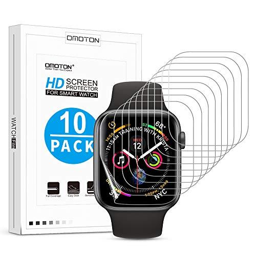 OMOTON [10 Stück] TPU Schutzfolie für Apple Watch Series 5/4 (44mm) / Apple Watch Series 3/2/1 42mm, vollständige Abdeckung,Ultra-dünn,Anti-Fingerabdruck,Anti-Schmutz,Anti-Reflex,Hoch Transparenz