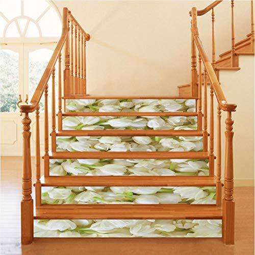 Wangxuan6 Jasmin Elegante 3D Treppe Aufkleber Aufkleber Wasserdicht Abnehmbare Tapete Wandaufkleber Bodenaufkleber Dekoration
