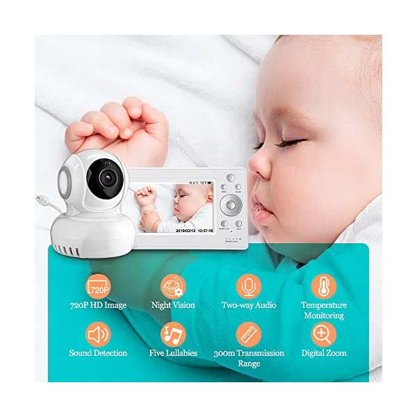 """iLifeSmart 720P Wireless Video Baby Monitor with 5"""" HD LCD Digital Screen, Two Way Audio and Baby Lullabies, Sound & Temperature Alert, Low Battery & Out of Range Alarm, Night Vision iLifeSmart 【5"""" Large LCD Screen Monitor 】 iLifeSmart baby monitor is equipped with super large 5 inch full color HD LCD screen with 1280 x 720 resolution, which can offer you a clear and vivid real-time view.5"""" Large Rechargeable Color LCD Monitor : iLifeSmart baby monitor is equipped with super large 5 inch full color HD LCD screen with 1280 x 720 resolution, which can offer you a clear and vivid real-time view. 【Sound Detection and Temerature Monitoring】The baby monitor can be at the sleep mode then activated by sound.The temperature monitoring function can help you build a cosy environment for your baby. 【Pan and Tilt Function】You can press the button on the baby monitor to see your baby closer and clearly. 2"""