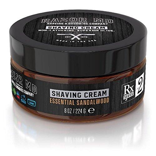 Essential Shave Cream (Shaving Cream - Rasier Creme | Essential Sandalwood - Sandelholzduft | nicht schäumend - nicht seifenbasiert | Paraben Free, All Natural, Made In USA)
