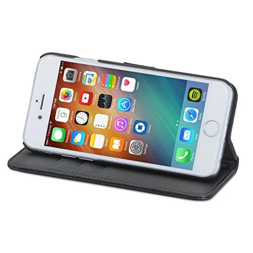 """Housse iPhone 8 / Housse iPhone 7 Noir - CASEZA """"Zurich"""" Étui Portefeuille Détachable Cuir végétalien haut de gamme 2 en 1 coque à rabat magnétique pour Apple iPhone 8 & 7 Original Noir iPhone 6/6s"""