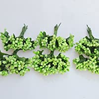 144 bacche (Set 12 Fiori da 12 pistilli bacche) bomboniera confezione scatola fiore fai da te (VERDE LIME)