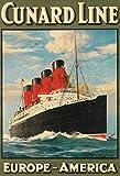 Schatzmix Tesoro Mix Cunard Line Europa América dampfschiff Barco Barco de Crucero Metal Sign Deko Sign Jardín Chapa
