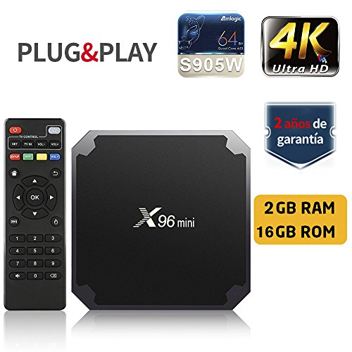 SUNNZO X96 Mini Android 7.1 TV Box con procesador Amlogic S905W,Quad Core de 64 bits 2GB RAM+16GB ROM,WiFi,4K HD,H.265 (2GB+16GB)