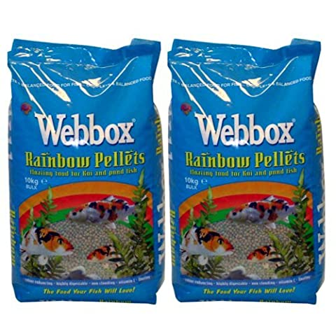20kg Webbox Rainbow Pellets Floating KOI CARP & All Pond Fish Food