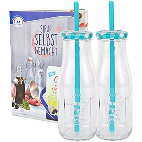 Set di 2bottiglie in vetro con coperchio e cannuccia con quaderno per ricette–azzurro a quadretti–400ml borraccia/bicchiere con rilievo–per succhi, frullati e altre bevande