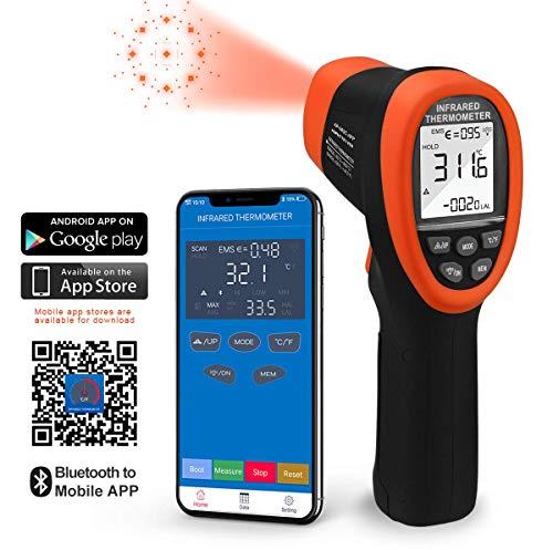 Infrarot Thermometer, IR Laserthermometer, Berührungslose, Digitale Temperaturpistole -50°C~800°C (-58 ° F~1472 ° F) Verbindung zum Telefon herstellen APP Daten lesen und herunterladen