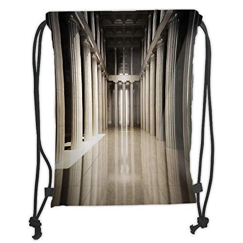 Icndpshorts Pillar Decor,3D Model Style Column Interior Empty Room Digital Image Decorative Design,Beige and Tan Soft Satin,5 Liter Capacity,Adjustable String Closure