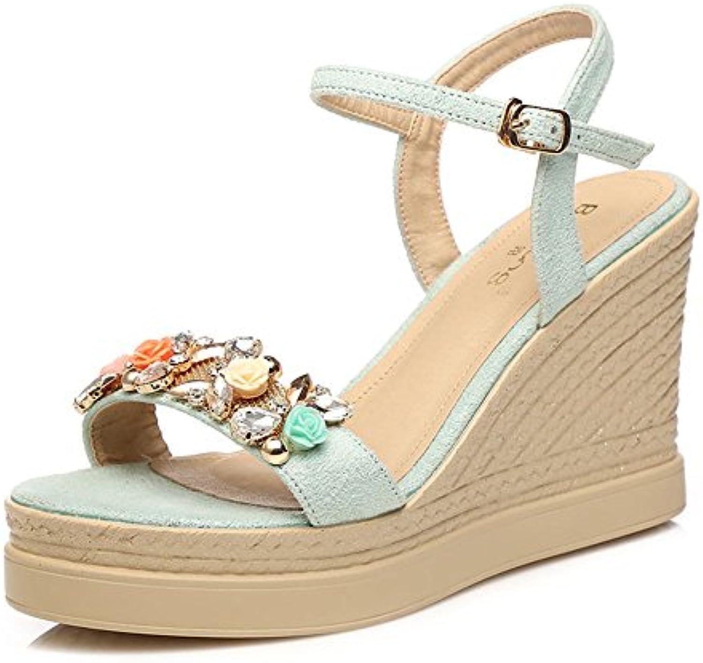 ZHIRONG Cuñas de verano de las mujeres Bohemia Sweet Open Toe Rhinestone Sandalias de tacón alto Zapatos de playa...