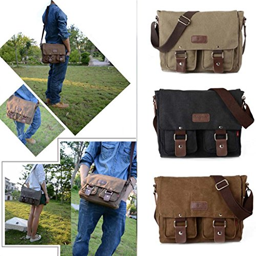 Vintage Herren Militär Leinwand Tasche Umhängetasche Schultasche Segeltuch Bag - Grau Kaffee