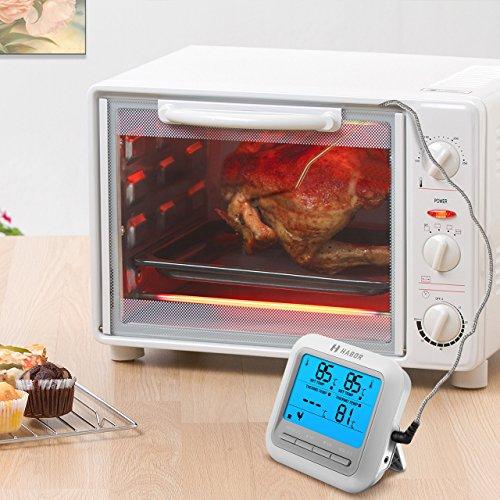 Habor Termometro Horno Termómetro Digital de Cocina Termómetro Temporizador con Pantalla LCD Grande y 2 Sondas para Cocina Kitchen Horno Parilla Líquido