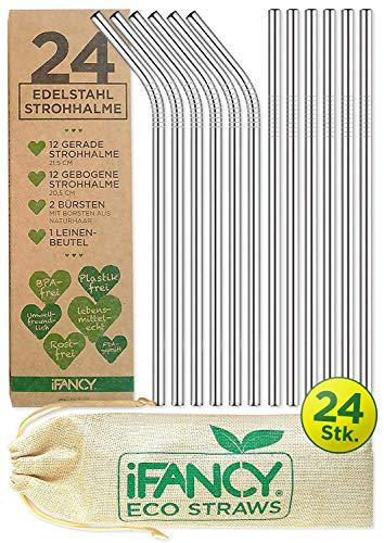 iFancy 24 Strohhalme Silber aus Edelstahl/Metall + 2 Reinigungsbürsten + 1 Geschenk-Beutel - Eco Trinkhalm Set Umweltfreundlich Wiederverwendbar Nachhaltig & Plastikfrei