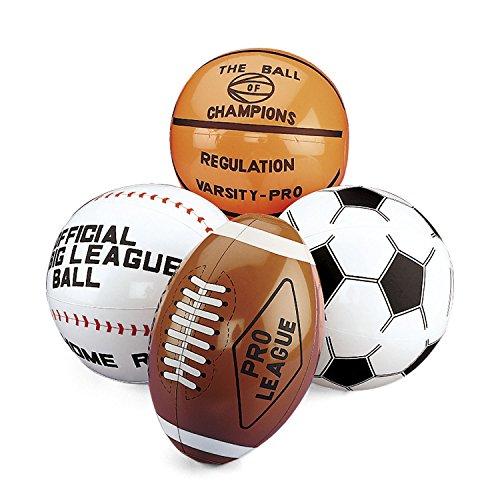 cama24com Aufblasbarer Football Basketball Baseball Fußball 4 Stück groß Wasserball Palandi® -