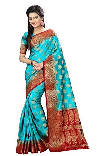 (New Latest Designer saree) Sky blue and Maroon color Banarasi Nylon Dyeable...