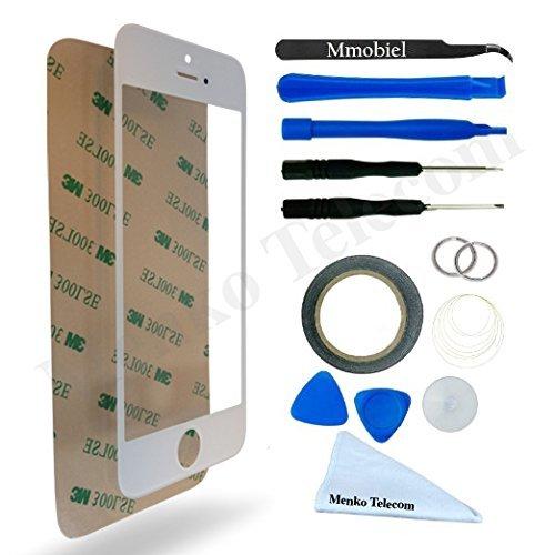 Schermo tattile di ricambio. Incl kit con 12 attrezzi / vetro frontale / pinzetta / rullo di nastro adesivo da 2 mm / panno pulizia / ventosa / cavo metallico per iPhone 5 5C 5S SE Bianco MMOBIEL