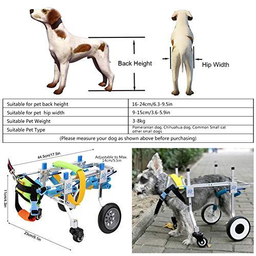 512NlOKUgIL - Pssopp Silla de Ruedas para Perros, Ajustable Silla de Ruedas para Mascotas 4 Ruedas Carrito para Perros Rehabilitación de Patas Delanteras y traseras para discapacitados Perro pequeño Perrito Gato