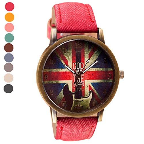 Tongshi de cuero patrón de cuarzo analógico banda relojes de pulsera Vogue
