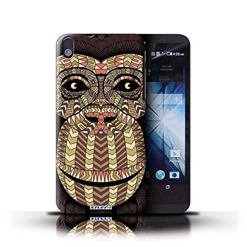 Kobalt® Imprimé Etui / Coque pour HTC Desire 816 / éléphant-Rouge conception / Série Motif Animaux Aztec Singe-Sépia