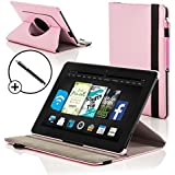 """ForeFront Cases® Kindle Fire HD 7"""" Rotating Leather Case Cover / Stand with Magnetic Auto Sleep Wake Function WILL ONLY FIT Kindle Fire HD 7"""" 2012 [PREVIOUS GENERATION] + Stylus Pen Worth £4.50"""