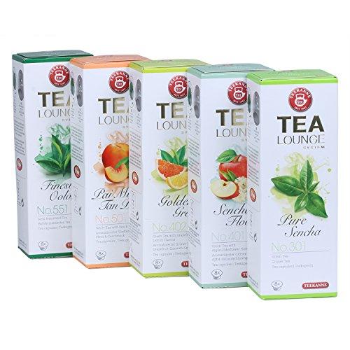 Teekanne Tealounge Kapseln – Grüner Tee Sortiment mit 5 Sorten (40 Kapseln)