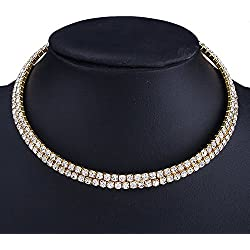 GIRISA Crystal Diamante Rhinestone Necklace Wedding Party Choker For Girls And Women (Golden Two Row)