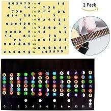 YoungRich 2Pcs Pegatina guitarra Eléctrico Nota, Diapasón de Guitarra Nota Adhesivos de Nota Diapason de