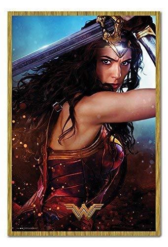 iPosters Wonder Woman Verteidigen Poster Magnettafel Eichenholz-Rahmen, 96,5x 66cm (ca. 96,5x 66cm) (Wonder Woman Blatt)