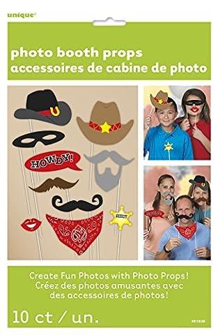 Unique Party - 61936 - Paquet de 10 Accessoires Western pour Photomaton