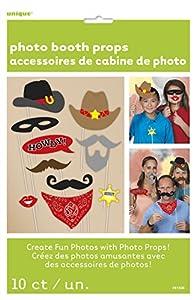 Unique Party- Paquete de 10 accesorios de cabina de fotos Fiesta de Cumpleaños del Lejano Oeste, Multicolor, talla única (61936)