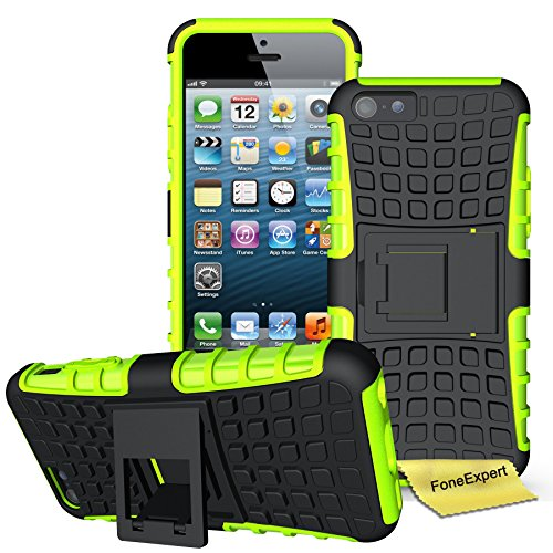 iPhone 5C Handy Tasche, FoneExpert® Hülle Abdeckung Cover schutzhülle Tough Strong Rugged Shock Proof Heavy Duty Case für Apple iPhone 5C + Displayschutzfolie (Grün)