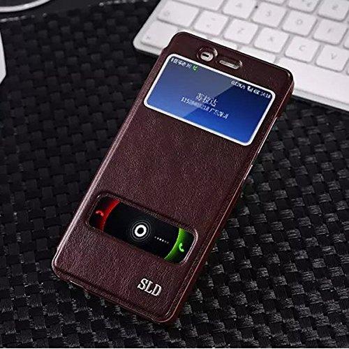 MOONCASE iPhone SE Case,View Window Coque en Cuir Housse de Protection Étui à rabat Case pour Apple iPhone 5 / 5S Noir Rouge