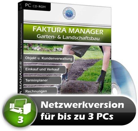 Faktura Manager Gartenbau, Landschaftsbau Rechnungsprogramm Netzwerk Software 3 PC