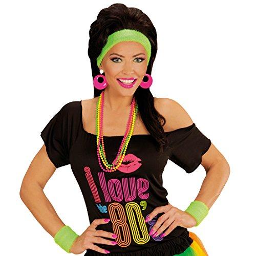 Neon Schweißbänder - Grün - Aerobic Stirnband Damen Schweißband Stirn Wristband Arm Fitness Kostüm Zubehör 80er Jahre Sport-Set