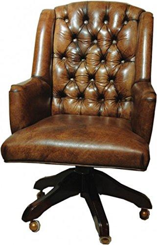 Casa Padrino Luxus Echtleder Chefsessel Büro Stuhl Braun Drehstuhl Schreibtisch Stuhl - Chefbüro