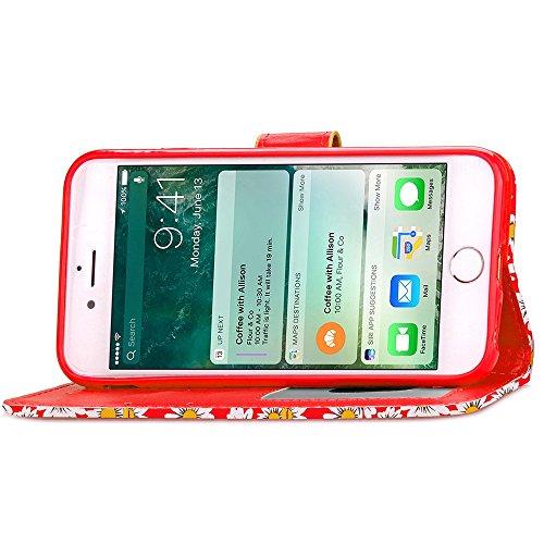 iPhone Case Cover High Quality Case en cuir PU, fleur de chrysanthème Motif Wallet Case Support Window Case photo pour l'iPhone 7 Plus ( Color : Green , Size : IPhone 7 Plus ) Red