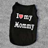 #4: Love Cat Clothes Cotton T Shirt Pet Clothes Pet Clothing Spring Summer Pet Groom Clothes Cat Clothes I Love Mom Daddy 40S1(black mommy)