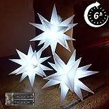 Weihnachtsstern Lichterkette 3 Sterne Kalt weiß 11,5cm LED mit Timer und Batterie Innenstern 3D Adventsstern Stern Leuchtstern